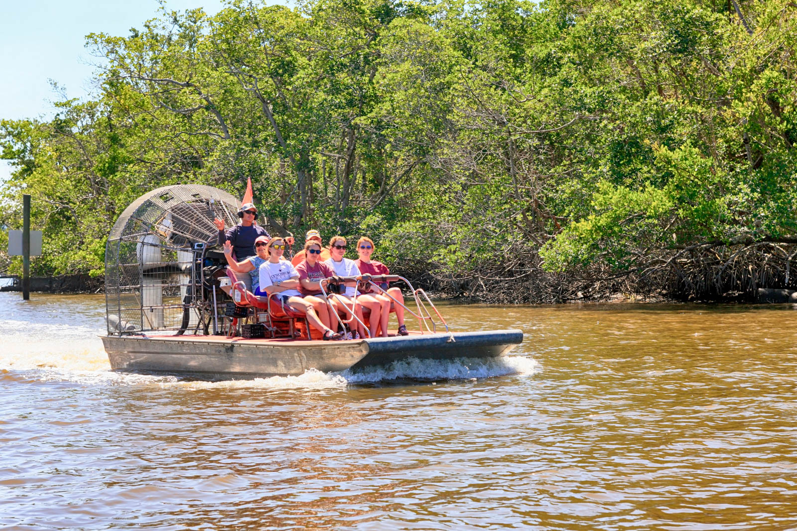 Airboats on a tour of the mangrove swamps in the Everglades. The best day trips from Miami happen in South Florida, including Everglades National Park.