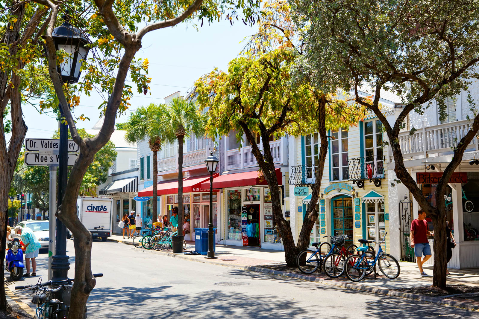 The historic and popular center and Duval Street in downtown Key West. The best day trips from Miami include Key West along the sea bridge highway.