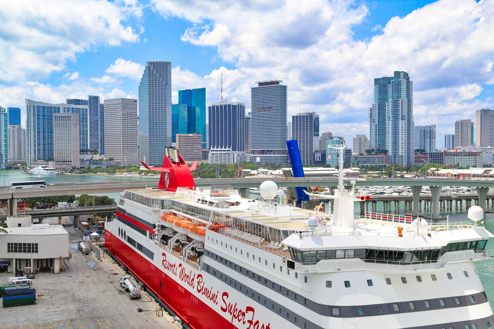 The busy Miami cruise port from above. Avoid this boat from Miami to Bahamas and fly with Bahamas Air Tours instead.