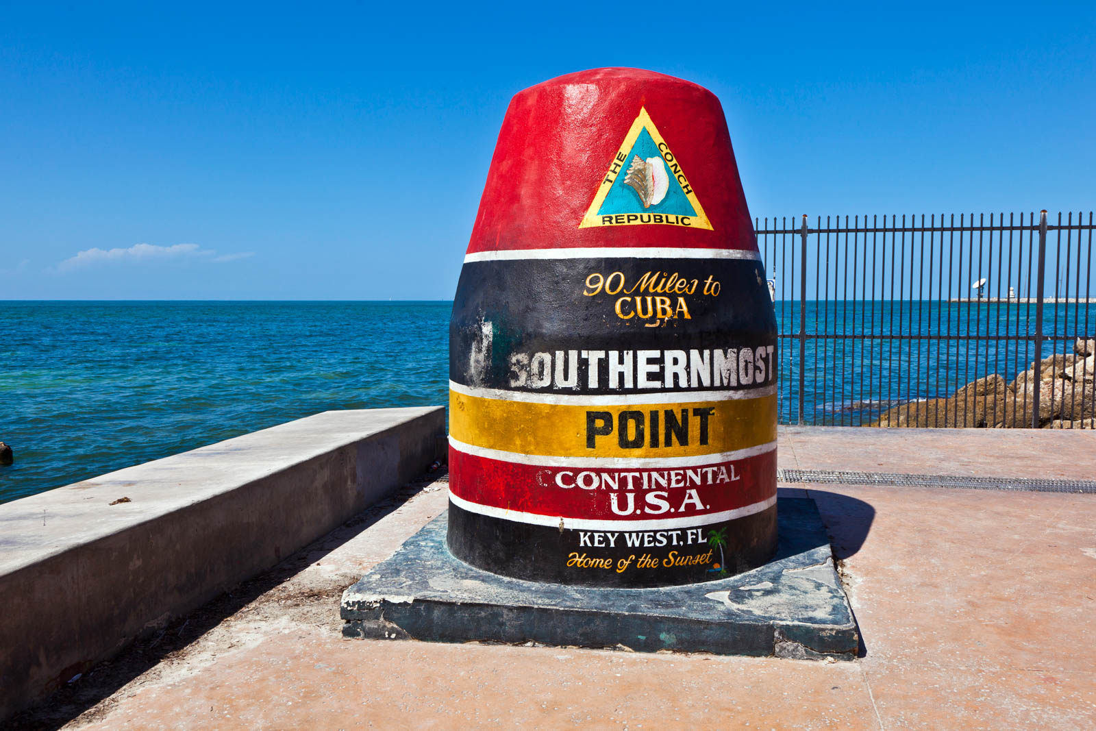 Southernmost Point marker, Key West, Florida. This marker is one of the most visited things to do in South Florida and one of the cheap things to do in Florida too.