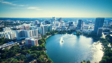 Lake Ecola Park is a crowd favorite of things to do in Orlando Florida. Here is an aerial view of many things to do in downtown Orlando.